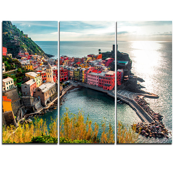 Designart Vernazza Bay Aerial View Seascape Art Canvas Print - 3 Panels