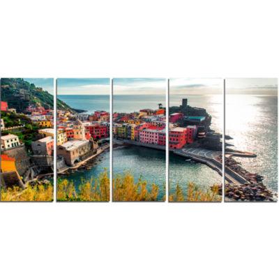 Design Art Vernazza Bay Aerial View Seascape Art Canvas Print - 5 Panels