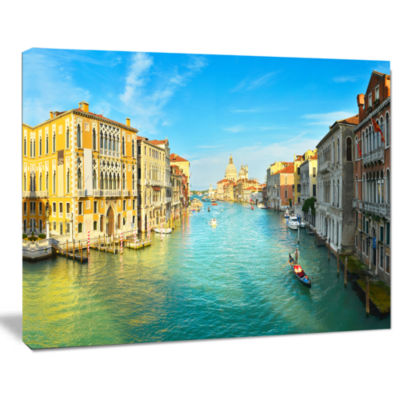 Designart Vibrant Evening Venice Italy Cityscape Canvas Art Print