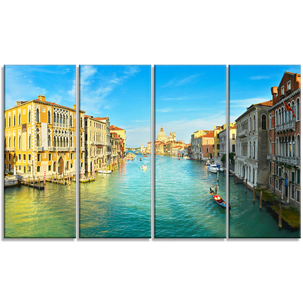 Design Art Vibrant Evening Venice Italy Cityscape Canvas Art Print - 4 Panels