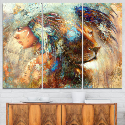 Designart Indian Woman Collage With Lion Indian Canvas Artwork - 3 Panels