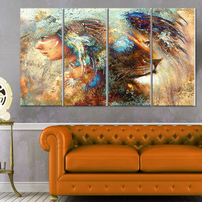Designart Indian Woman Collage With Lion Indian Canvas Artwork - 4 Panels
