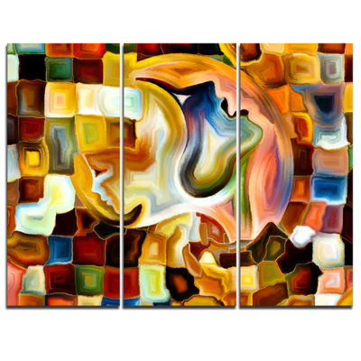 Designart Way Of Inner Paint Abstract Canvas ArtPrint - 3 Panels