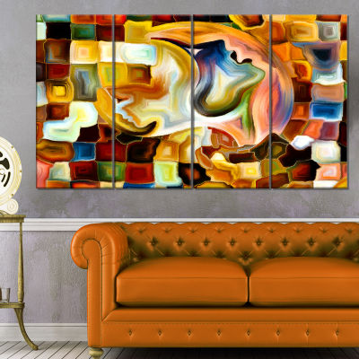 Designart Way Of Inner Paint Abstract Canvas ArtPrint - 4 Panels