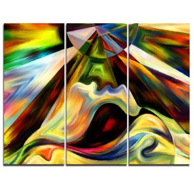 Design Art Origin Of Imagination Abstract Canvas Art Print - 3 Panels