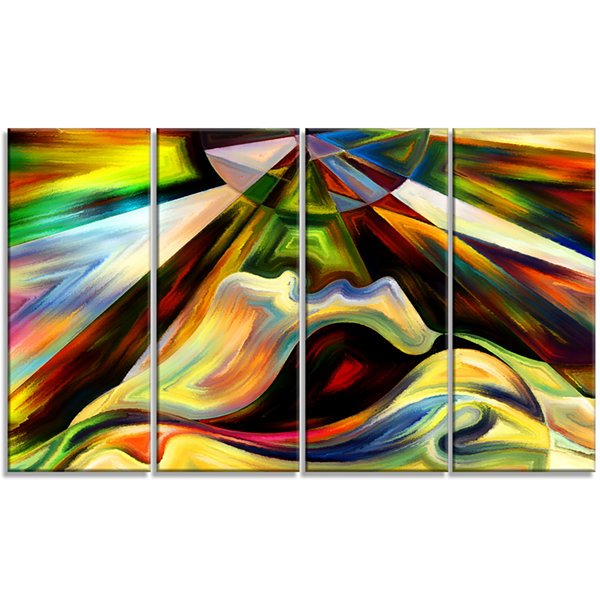 Designart Origin Of Imagination Abstract Canvas Art Print - 4 Panels