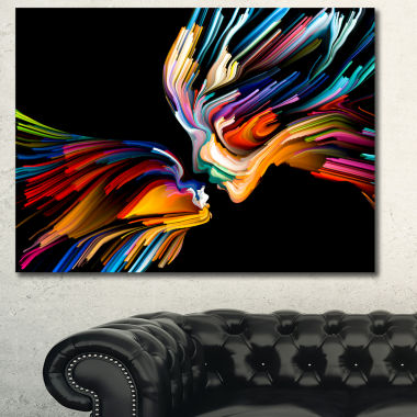 Designart Kissing Minds Graphic Art Abstract Canvas Art Print