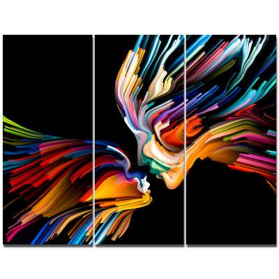 Design Art Kissing Minds Graphic Art Abstract Canvas Art Print - 3 Panels