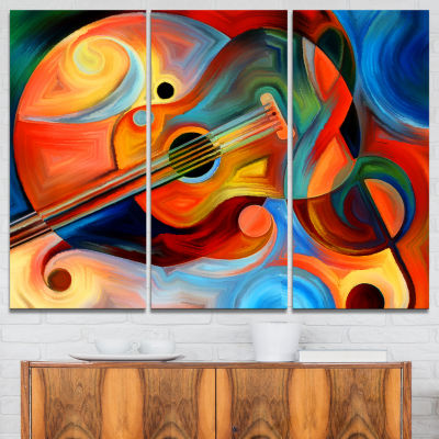Design Art Music And Rhythm Abstract Canvas Art Print - 3 Panels