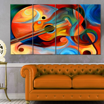 Designart Music And Rhythm Abstract Canvas Art Print - 4 Panels