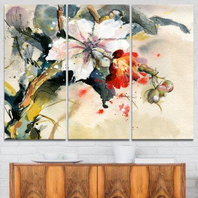 Design Art Orchid In Bloom Floral Art Canvas Print- 3 Panels
