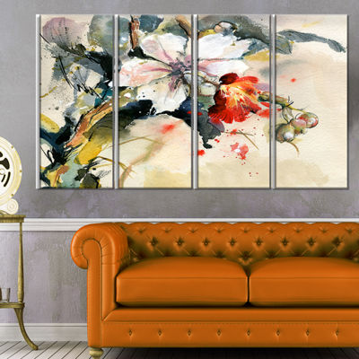Designart Orchid In Bloom Floral Art Canvas Print-4 Panels