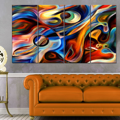 Design Art Abstract Music And Rhythm Canvas Art Print - 4 Panels