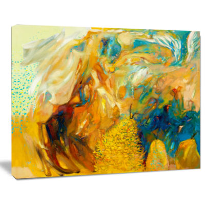 Design Art Abstract Yellow Collage Canvas Print