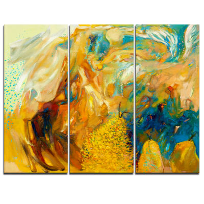 Designart Abstract Yellow Collage Canvas Print - 3Panels