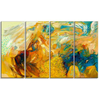 Designart Abstract Yellow Collage Canvas Print - 4Panels