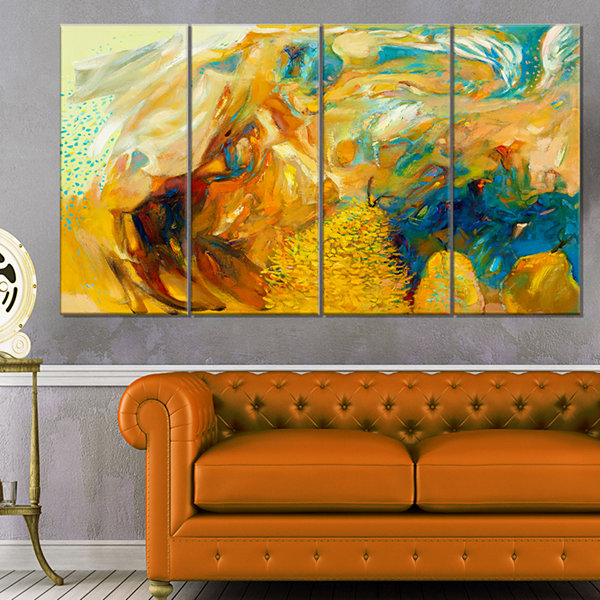 Designart Abstract Yellow Collage Canvas Print -4Panels