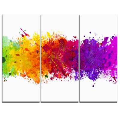 Designart Artistic Watercolor Splash Abstract Canvas Artwork - 3 Panels