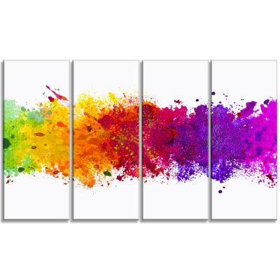 Designart Artistic Watercolor Splash Abstract Canvas Art work - 4 Panels