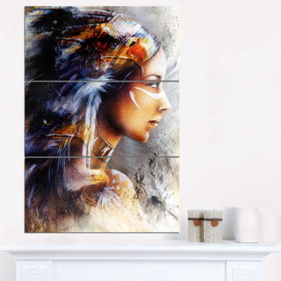 Design Art Woman With White Horse Eagles Indian Canvas Art Print - 3 Panels