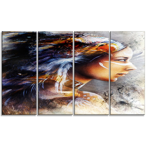 Design Art Woman With White Horse Eagles Indian Canvas Art Print - 4 Panels