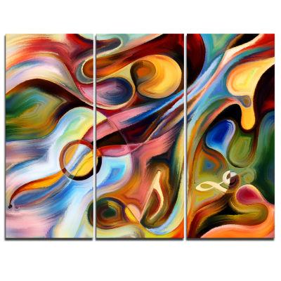 Designart Music Beyond The Frames Music Canvas ArtPrint - 3 Panels