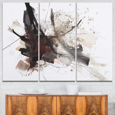 Designart Artistic Splash Landscape Art Print Canvas - 3 Panels