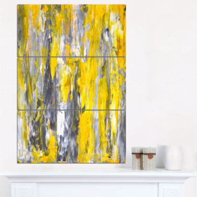 Designart Grey And Yellow Abstract Pattern CanvasPrint - 3 Panels