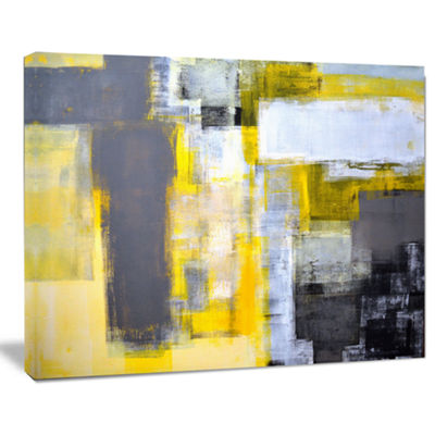 Designart Grey And Yellow Blur Abstract Canvas ArtPrint