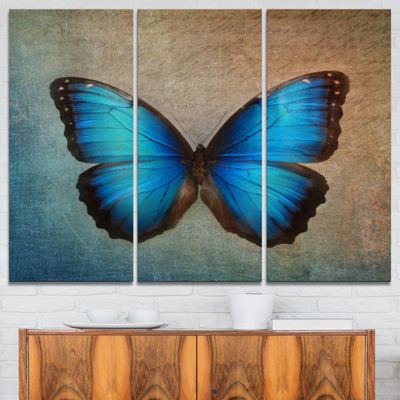 Designart Blue Vintage Butterfly Art Canvas Print-3 Panels