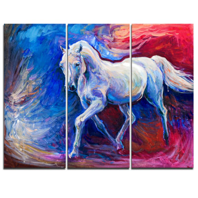 Design Art Blue Horse Animal Art On Canvas - 3 Panels