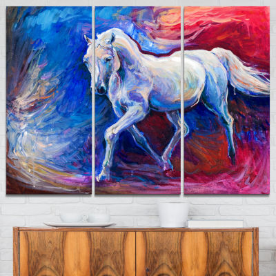 Designart Blue Horse Animal Art On Canvas - 3 Panels