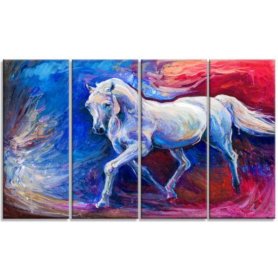 Designart Blue Horse Animal Art On Canvas - 4 Panels