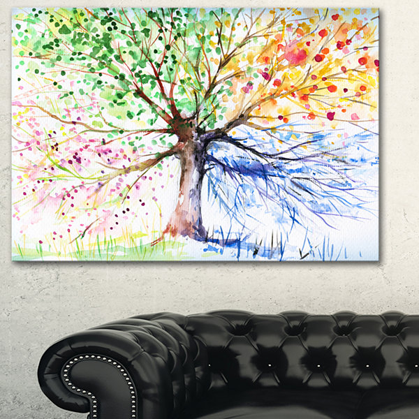 Design Art Four Seasons Tree Art Canvas Print
