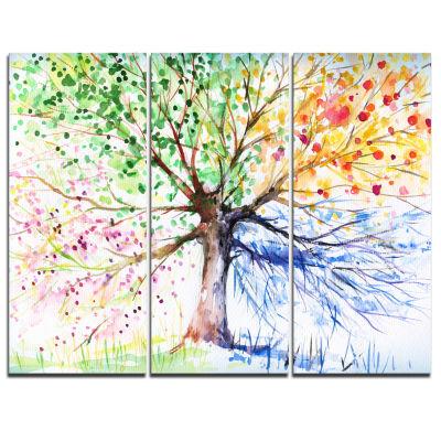 Design Art Four Seasons Tree Art Canvas Print - 3 Panels