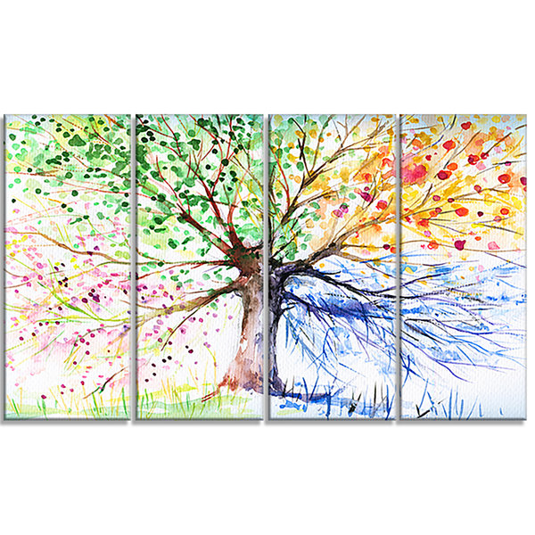 Designart Four Seasons Tree Art Canvas Print - 4Panels