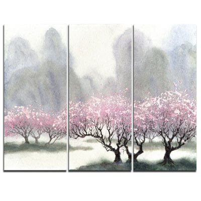 Designart Flowering Trees At Spring Landscape ArtPrint Canvas - 3 Panels