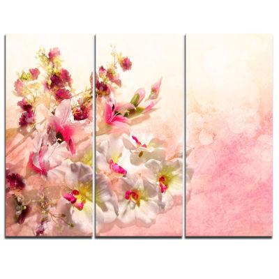 Design Art Pink Bouquet Of Flowers Art Canvas Print- 3 Panels