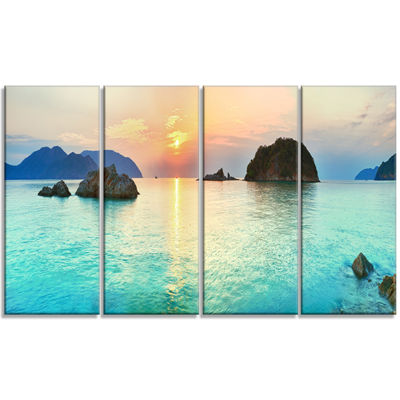 Designart Sunrise Panorama Photography Canvas ArtPrint - 4 Panels