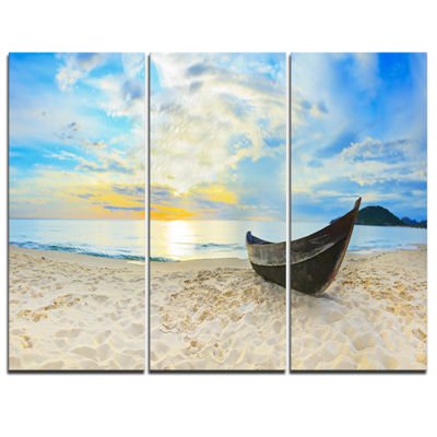 Designart Calm Beach Panorama Photography CanvasArt Print - 3 Panels