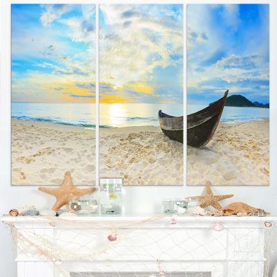 Designart Calm Beach Panorama Photography CanvasArt Print - 3 Panels