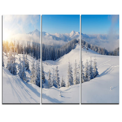 Designart Winter Mountains Panorama Photography Canvas Art Print - 3 Panels