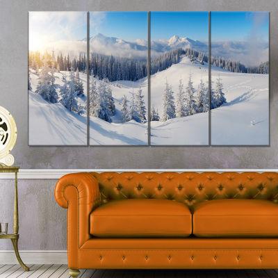 Designart Winter Mountains Panorama Photography Canvas Art Print - 4 Panels