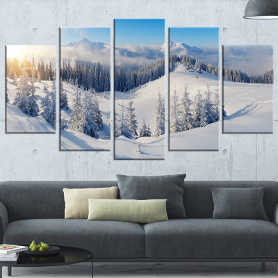 Designart Winter Mountains Panorama Photography Canvas Art Print - 5 Panels