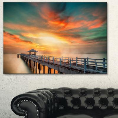 Designart Wooden Pier Landscape Photo Canvas Art Print