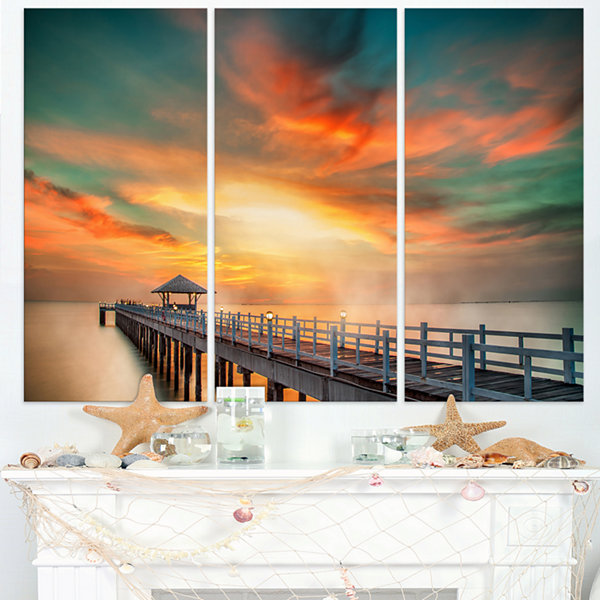 Design Art Wooden Pier Landscape Photo Canvas ArtPrint - 3 Panels