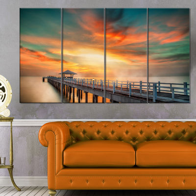 Design Art Wooden Pier Landscape Photo Canvas ArtPrint - 4 Panels