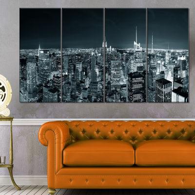 Designart New York City Skyline At Night CityscapePhoto Canvas Print - 4 Panels