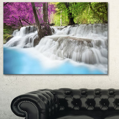 Designart Erawan Waterfall Blue Photography CanvasArt Print