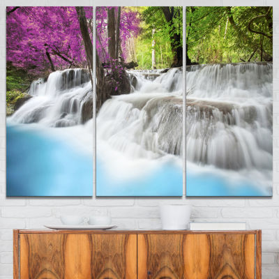 Designart Erawan Waterfall Blue Photography CanvasArt Print - 3 Panels